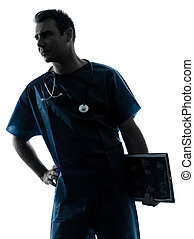 doktor, mann, silhouette, porträt