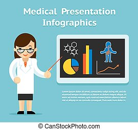 doktor, medicinsk kort, presentation., chalkboard, kvindelig, infographics, viser
