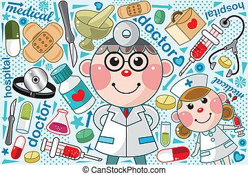 doktor, medicinsk, mønster