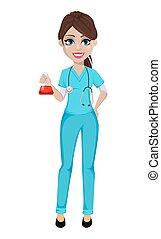 doktor, medizin, medizinprodukt, healthcare, woman., concept.