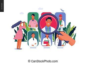 doktor, medyczny, -, ilustracja, znaleźć, ubezpieczenie