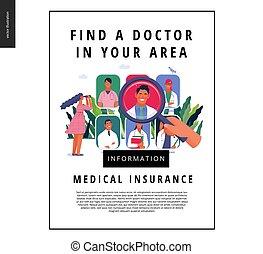doktor, medyczny, -, znaleźć, szablon, ubezpieczenie