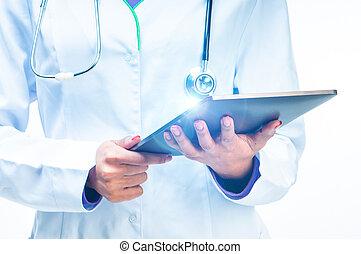 doktor, mit, tablette, edv