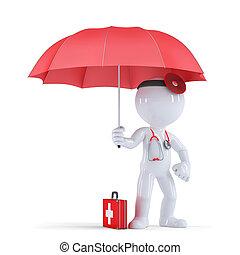 doktor, mit, umbrella., gesundheit, schutz, concept., isolated., enthält, ausschnitt weg