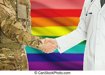 doktor, national, leute, -, uniform, lgbt, fahne, hintergrund, hände, militaer, schüttelnd, mann