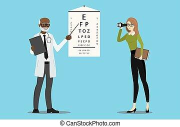 doktor, oculist, prüfungen, vision
