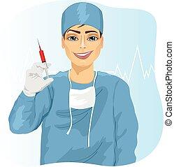 doktor, oder, besitz, spritze, krankenschwester, mann, chirurg