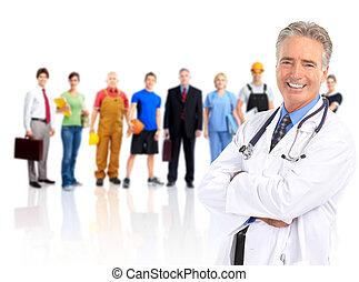 doktor, og, arbejdere, folk.