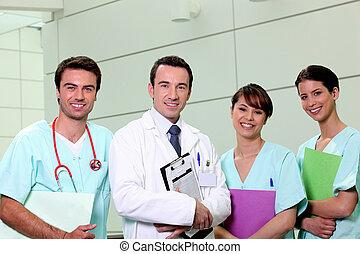 doktor, og, sygepleje, hold