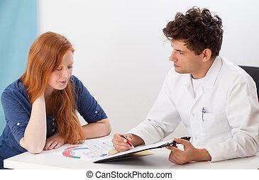 doktor, og, ung patient