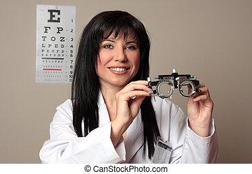 doktor, oko, układa, próba