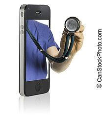 doktor, på, raffineret, telefon
