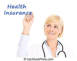 doktor, pisanie, sanitarne ubezpieczenie
