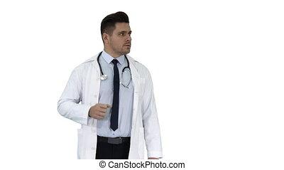 doktor, pokaz, jemu, tło., coś, uśmiechanie się, biały, szczęśliwy
