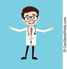 doktor, poza, -, radosny, profesjonalny