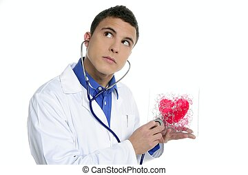 doktor, pr�fung, a, rotes herz, gesundheit, junger mann