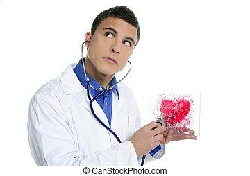 doktor, próba, niejaki, czerwone serce, zdrowie, młody...