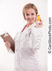 doktor, pracownik, kaukaski, pociągający, healthcare, pielęgnować, przyjacielski