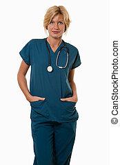 doktor, pracownik, pociągający, healthcare, pielęgnować, przyjacielski