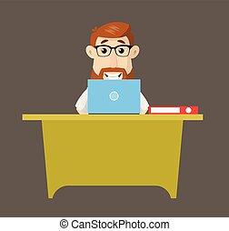 doktor, -, pracujący, laptop