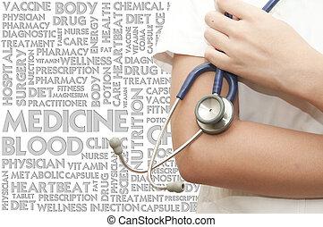 doktor, rączka, stethosocope, na, przedimek określony przed rzeczownikami, słowo, chmura, medyczne pojęcie