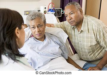 doktor, reden, ältere paare
