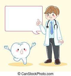 doktor, rysunek, ząb