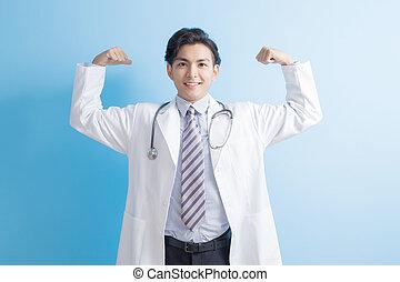 doktor, samiec, ręka, silny, pokaz