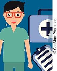 doktor, satz, klemmbrett, hilfe, brille, zuerst