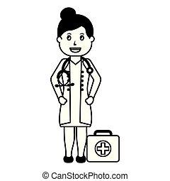 doktor, satz, weiblicher fachmann, hilfe, zuerst