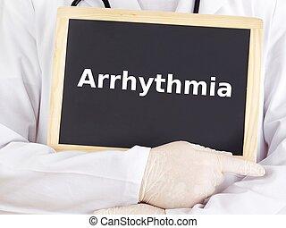 doktor, shows, informationen, auf, blackboard:, arrhythmia