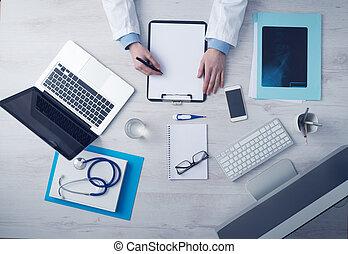 doktor, skrift, medicinsk registrerer