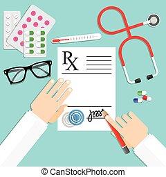 doktor, skrift noterer, på, en, receptpligtig pad