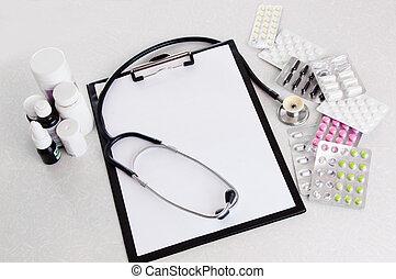 doktor, skrivebord, arbejdspladsen