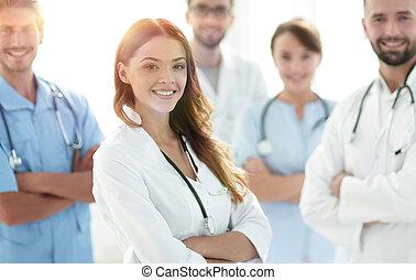 doktor, stetoskop, samica, pociągający, medyczny, mnie, przód