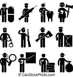 doktor, sygeplejerske, tandlæge, dommer, politi