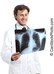 doktor, szczęśliwy, człowiek, egzaminując, radiografia