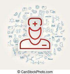 doktor, tło, healthcare, handdrawn, doodles, ikona