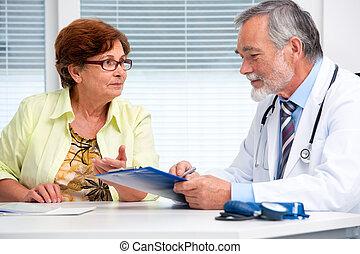 doktor, tales, hans, kvindelig, patient