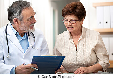 doktor, tales, hans, kvindelig, senior, patient