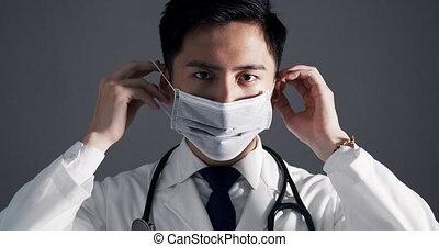 doktor, tragen, medizin, asiatisch, junger, maske