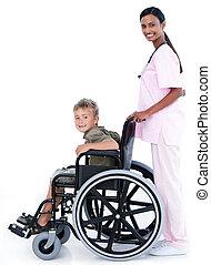 doktor, tragen, rollstuhl, selbstbewusst, patient, weibliche...