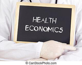 doktor, widać, informacja, na, blackboard:, zdrowie,...