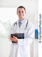 doktor, z, jego, notatki