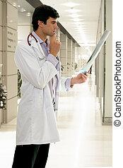 doktor, z, medyczny rentgenowski