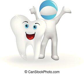 doktor, zdrowy, ząb, wektor, logo, człowiek, 3d