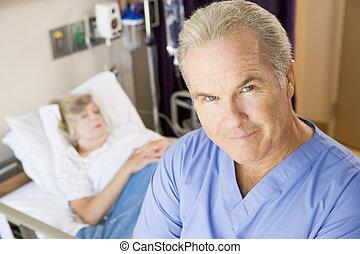 doktor, zimmer, ernst, stehende , patienten, schauen