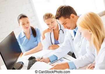 doktoren, gruppe, oder, arbeitende , mannschaft