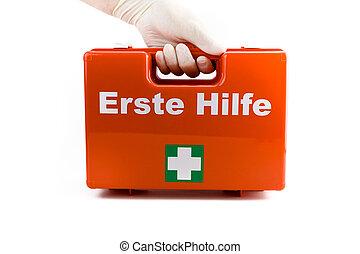 doktoren, hände, in, weißes, medizin, handschuhe, besitz, erste-hilfe-ausrüstung, freigestellt, weiß, hintergrund