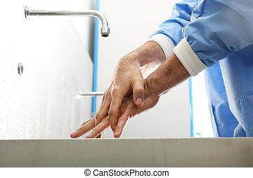 doktoren, vaske, hans, hands.